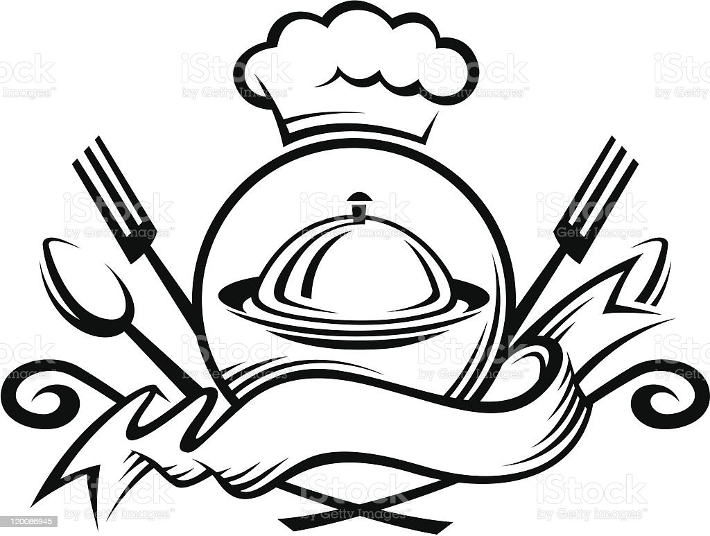 chef hat with spoon, fork and dish vector art illustration