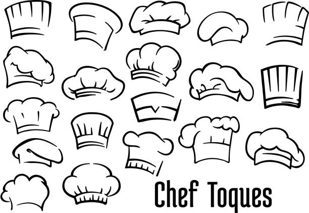 Chef hats and toques set Chef or baker hats and toques set in cartoon style cooking clipart stock illustrations