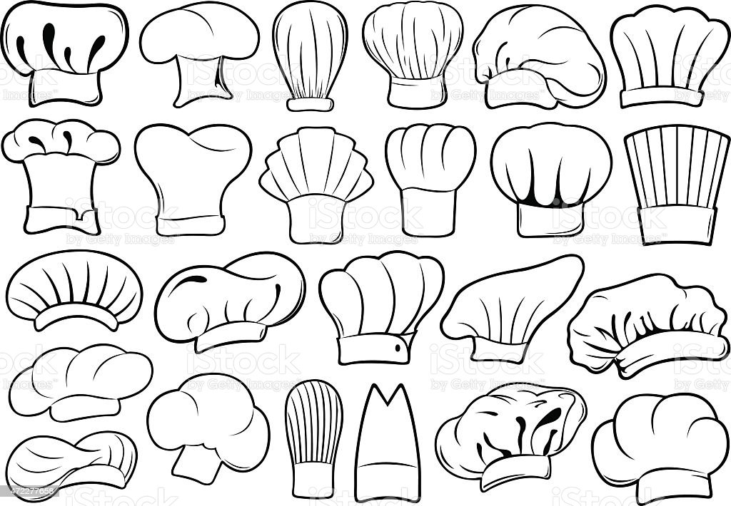 Chef hats isolated vector art illustration
