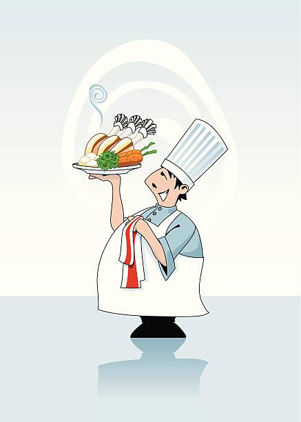 chef hält ein warmes schweinefleisch roast - schweinebraten stock-grafiken, -clipart, -cartoons und -symbole