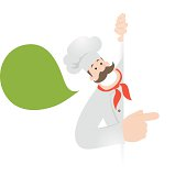 Vector illustration - Happy Chef holding blank sign showing something by his index finger.