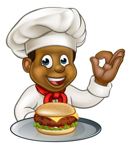 Chef Holding Burger Cartoon Character vector art illustration