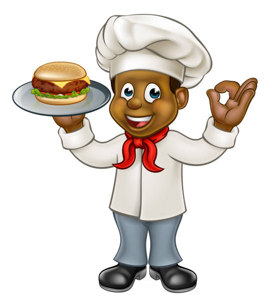 Chef Holding Burger vector art illustration