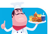 vector illustration of chef holding dish of fast food and giving thumbs up