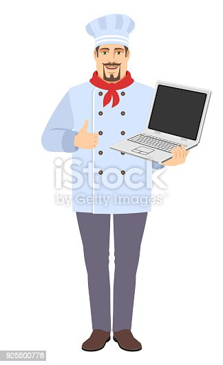 istock Chef holding laptop computer and showing thumb up 925500778