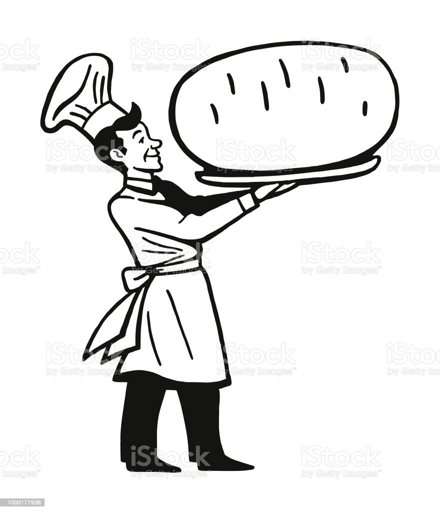 Chef Holding Large Baked Potato vector art illustration