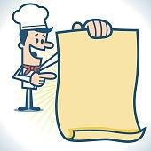 Chef holding menu.