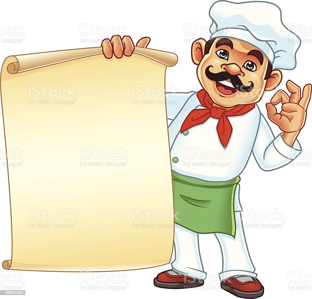 Chef Holding Parchment Menu royalty-free stock vector art