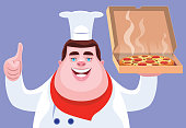 vector illustration of chef holding pizza and gesturing thumbs up