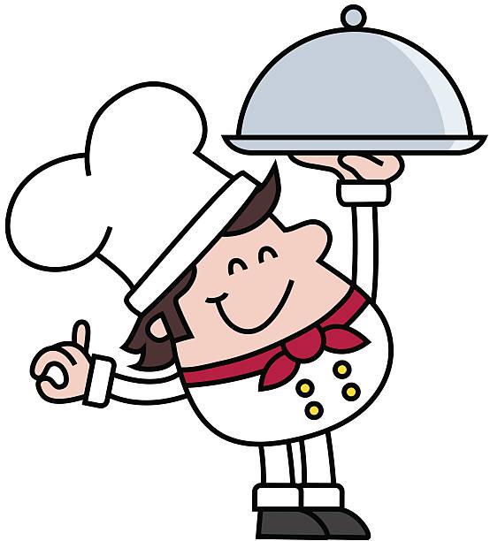 chefkoch mit silbernen tablett mit haube - desmond koch stock-grafiken, -clipart, -cartoons und -symbole