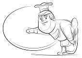 vector illustration of chef holding spoon and presenting