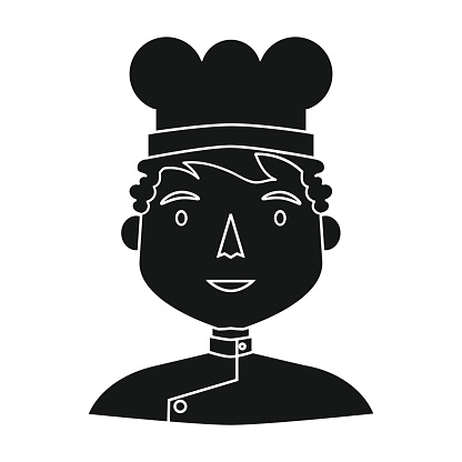 Chef icon in black style isolated on white background. People