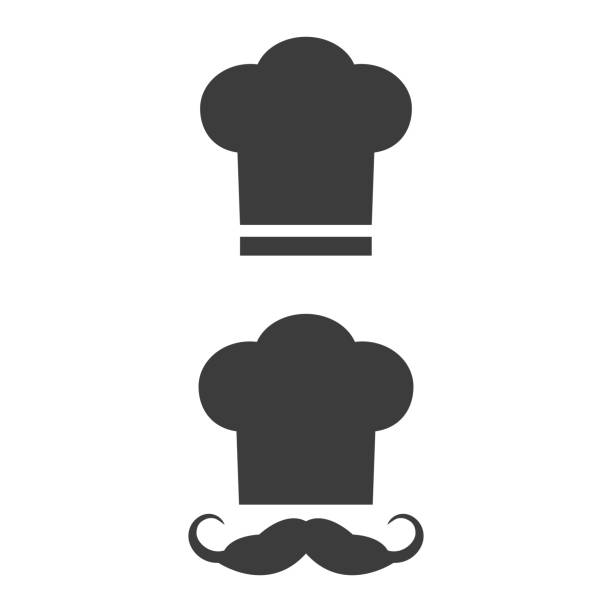 Chef icon on the white background. Chef icon on the white background. Vector Illustration chef's hat stock illustrations