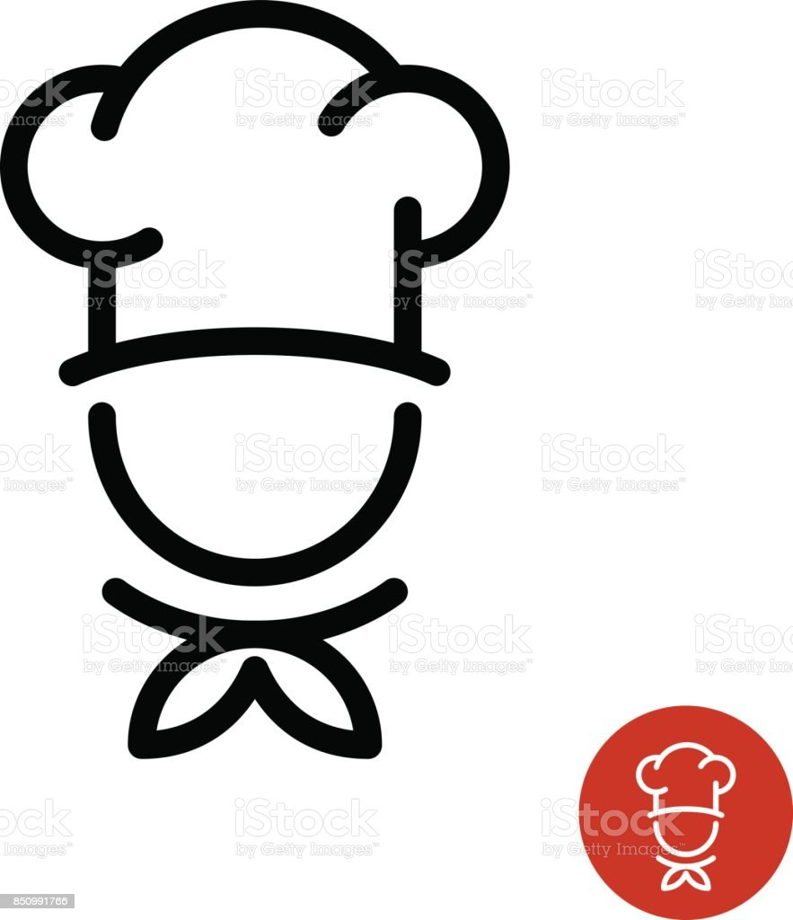 Chef in a cooking hat outline symbol.