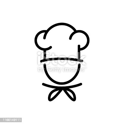 istock Chef in a cooking hat vector outline icon food concept for graphic design, logo, web site, social media, mobile app, ui 1166149111