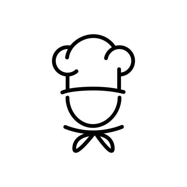 Chef in a cooking hat vector outline icon food concept for graphic design, logo, web site, social media, mobile app, ui Chef in a cooking hat vector outline icon food concept for graphic design, logo, web site, social media, mobile app, ui chef's hat stock illustrations