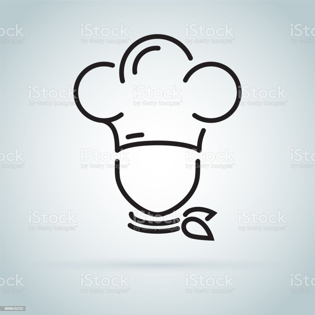 Chef in a cooking hat vector outline logo. Kitchen simple black icon. vector art illustration