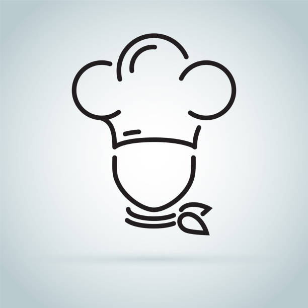 chef in a cooking hat vector outline logo. kitchen simple black icon. - chef stock illustrations, clip art, cartoons, & icons