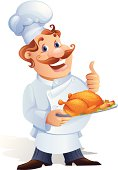 Vector illustration of a chef holding a chicken