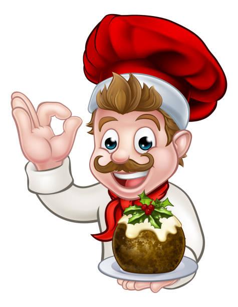 koch in weihnachtsmütze mit pudding - pflaumenkuchen stock-grafiken, -clipart, -cartoons und -symbole