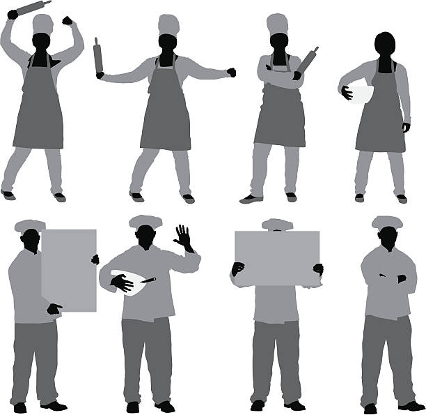Chef in different poses Chef in different poseshttp://www.twodozendesign.info/i/1.png apron isolated stock illustrations