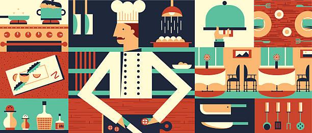 ilustraciones, imágenes clip art, dibujos animados e iconos de stock de cocinero en el restaurante de fondo - busy restaurant kitchen