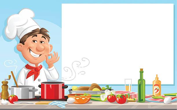 ilustrações de stock, clip art, desenhos animados e ícones de chef in the kitchen with blank sign - cooker happy