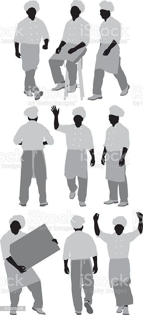 Chef in various actions vector art illustration