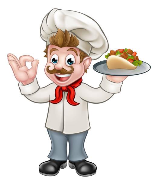 koch-kebab-cartoon - döner stock-grafiken, -clipart, -cartoons und -symbole