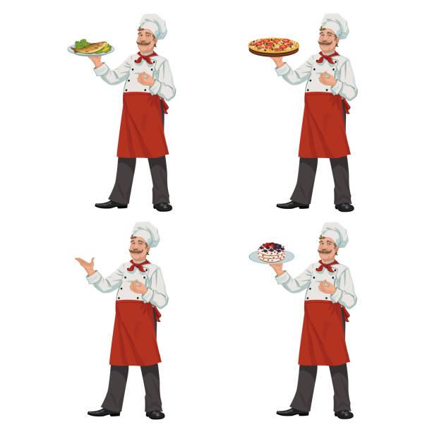 koch hält eine schüssel mit essen - lachskuchen stock-grafiken, -clipart, -cartoons und -symbole