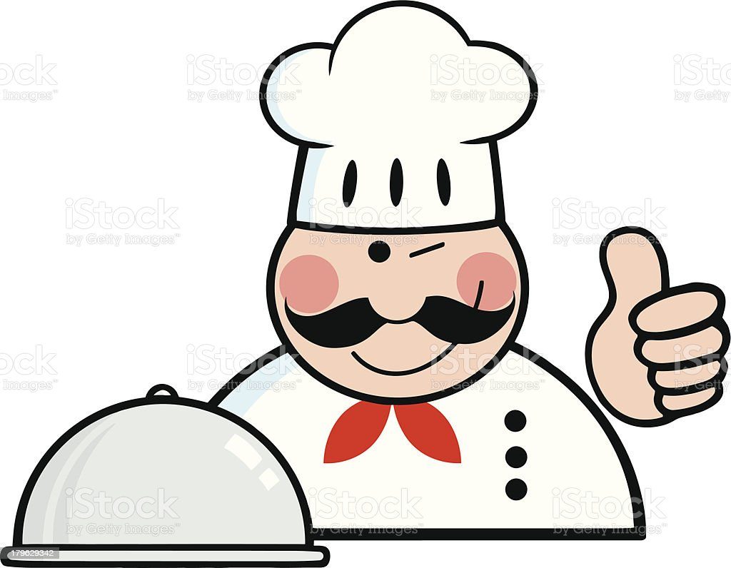Chef Logo With Platter Showing Thumbs Up royalty-free stock vector art