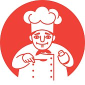 Vector illustration of a male chef with a red neckerchief  holding a spoon and a salt shaker in his hands, looking friendly and smiling. Front view. White on a red background. Square format.