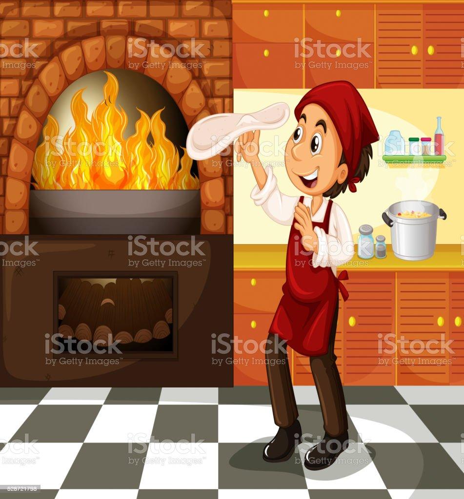 Chef making pizza at hot stove vector art illustration