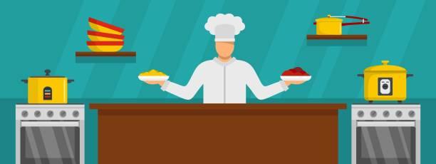 ilustraciones, imágenes clip art, dibujos animados e iconos de stock de maestro chef cocina estilo de banner horizontal y plana - busy restaurant kitchen