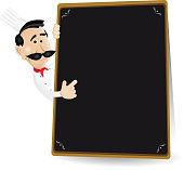 Chef Menu Holding A Blackboard Showing Today's Special