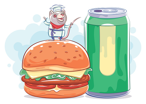 chef mouse presenting with hamburger and soda can