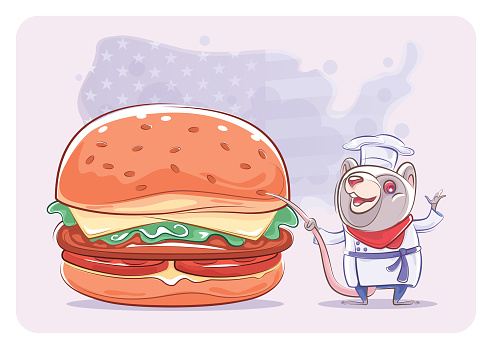 chef mouse presenting with hamburger