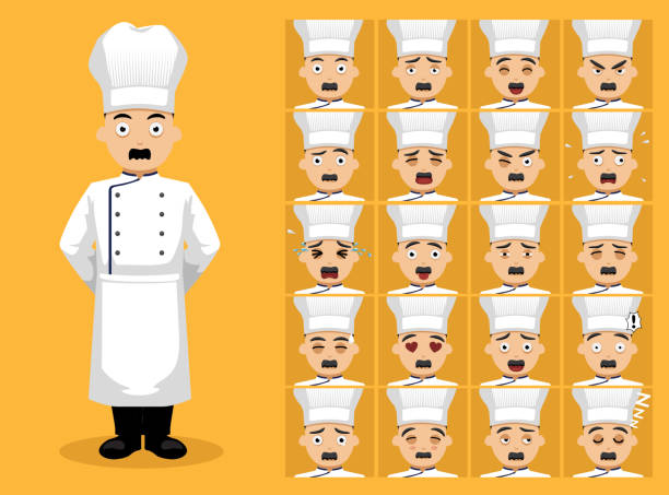illustrazioni stock, clip art, cartoni animati e icone di tendenza di chef old man unifrom cartoon character emotion faces - chef triste