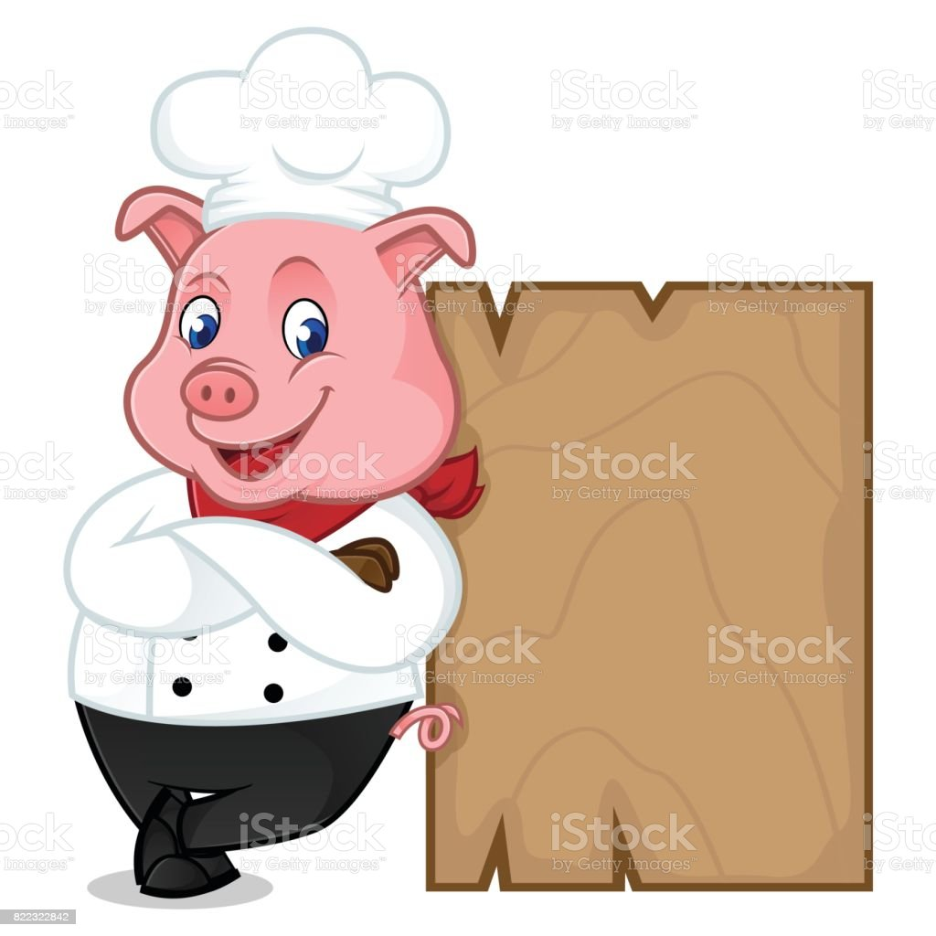 Chef pig cartoon mascot leaning on wooden plank vector art illustration