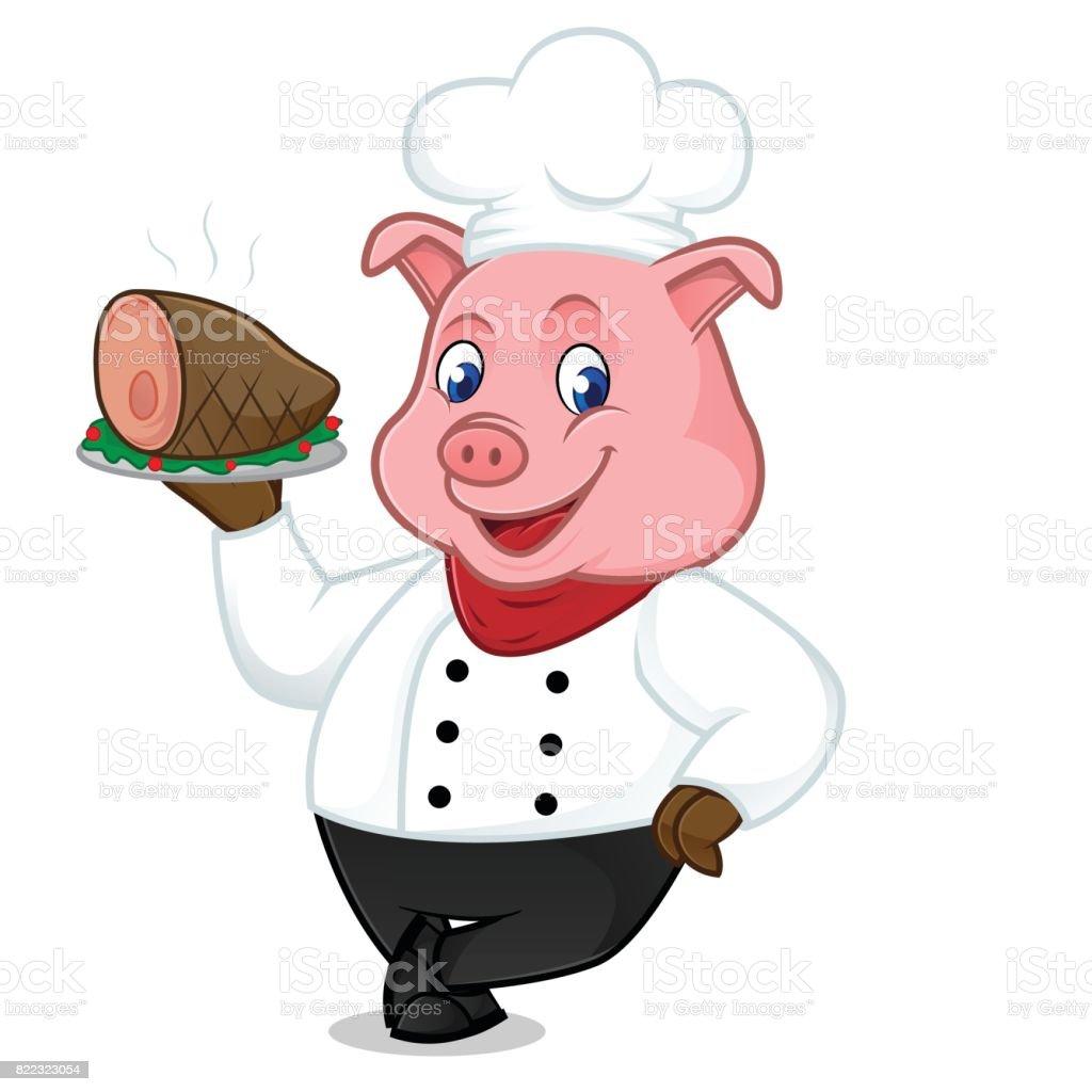 Mascota de dibujos animados de cerdo chef servir cerdo en for Cocinar imagenes animadas