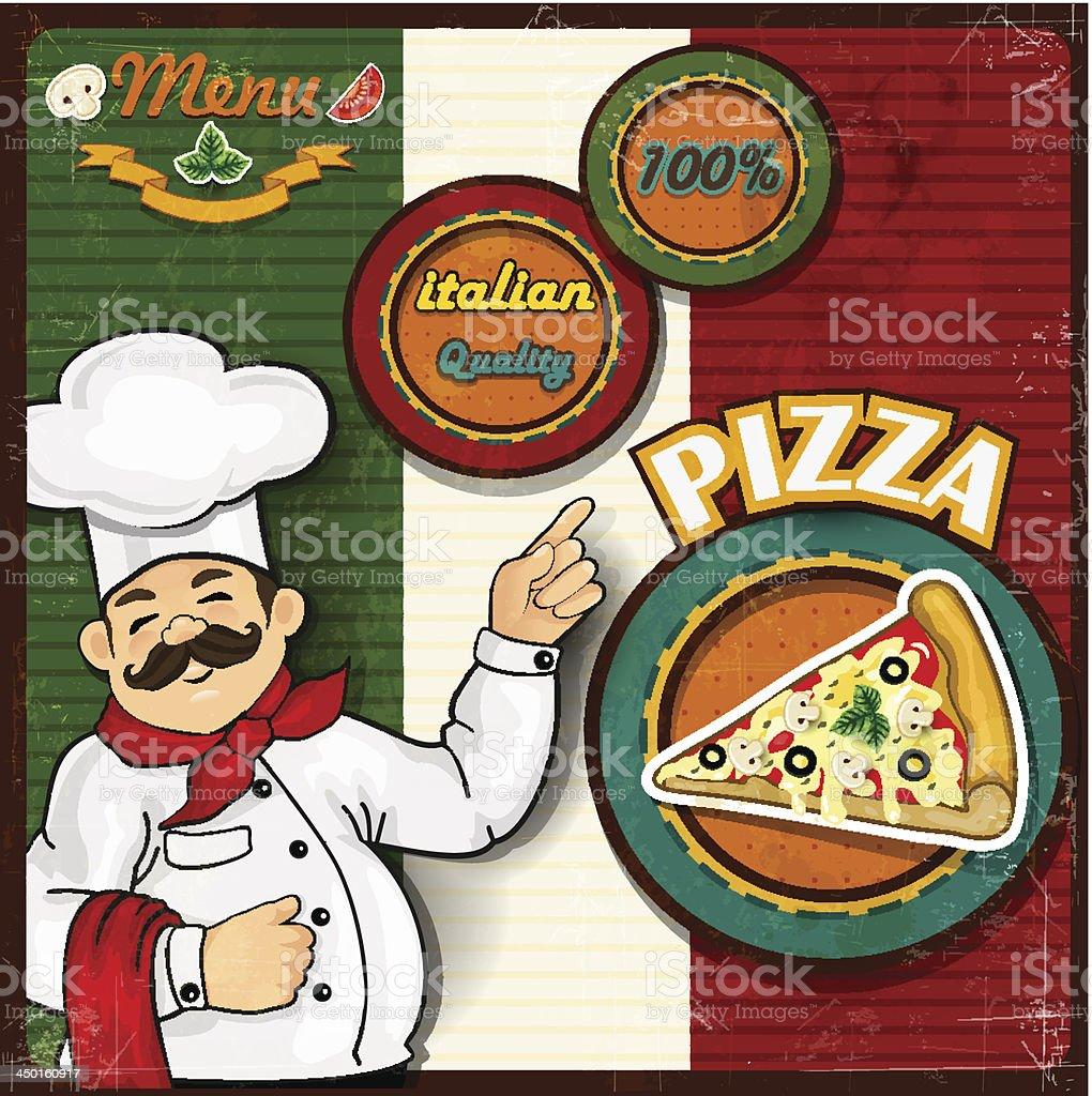 Chef pizza menu background Italian flag royalty-free stock vector art