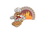 Chef Pizza Forno Logo Design Illustration