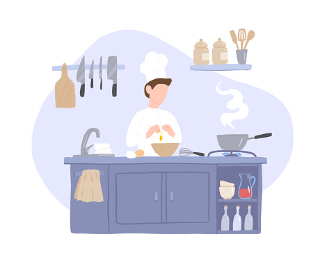Chef Prepares Food in the Kitchen