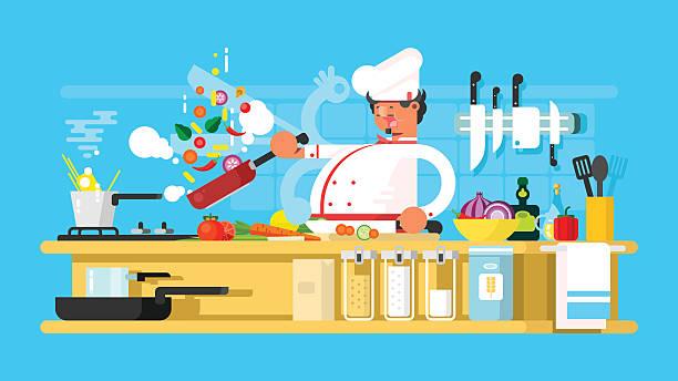 bildbanksillustrationer, clip art samt tecknat material och ikoner med chef prepares in kitchen - arbeta köksbord man