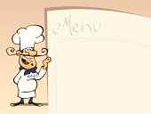 Illustration of a happy chef holding a large menu next to him.