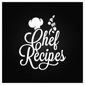 Chef recipes vintage lettering. Recipe book  on dark background