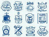 Chef retro labels collection - restaurant or cafe logos design
