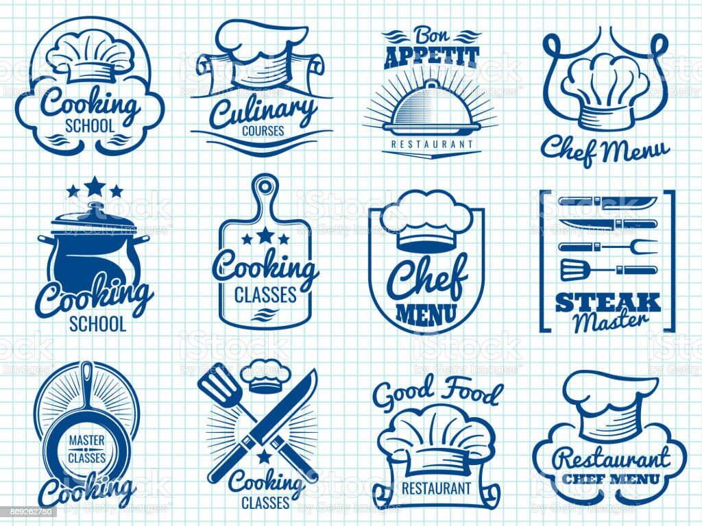 Chef retro labels collection - restaurant or cafe logos design vector art illustration
