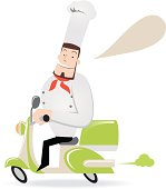 Vector illustration of a chef on a Vespa ( motorcycle ).