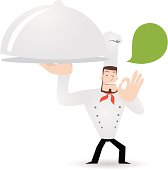Vector illustration - a happy chef carrying a covered dinner plate and showing ok gesture.